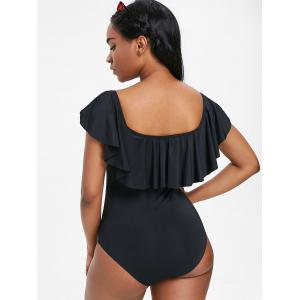 Plunge Ruffle Cut Out One Piece Swimsuit -