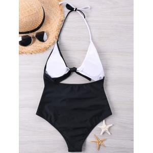 Color Block One Piece Halter Neckline Swimwear -
