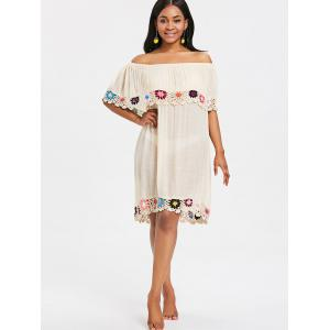 Crochet Trim Shift Beach Cover Up Dress -