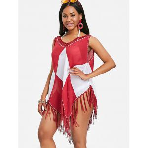 Asymmetric Sleeveless Fringed Cover Up -