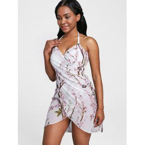 Backless Floral Chiffon Cover Up Dress -