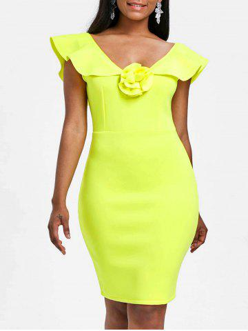 Cheap Flounce Sleeveless Bodycon Party Dress