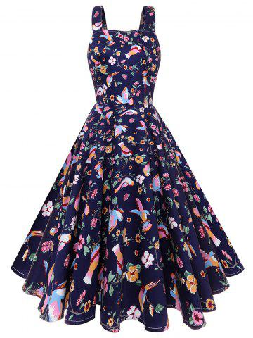 Fashion Print High Waist Vintage Dress
