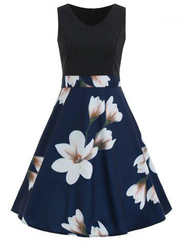 Discount Color Block Floral Print A Line Dress