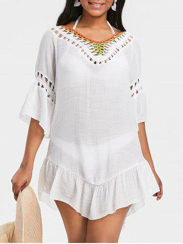 Sale Crochet Insert Flounce Cover Up Dress