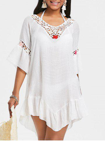Outfit Crochet Insert Flounce Backless Cover Up Dress