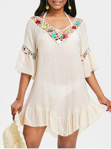 Affordable Crochet Insert Flounce Backless Cover Up Dress
