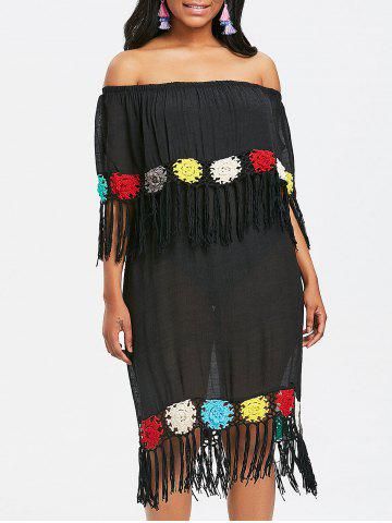 Cheap Summer Fringed Crochet Insert Cover Up Dress