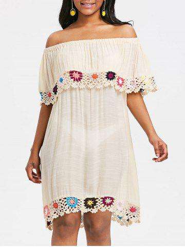 Shops Crochet Trim Shift Beach Cover Up Dress