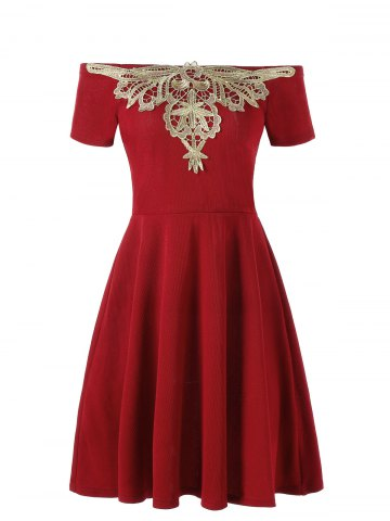 Unique Applique Off The Shoulder Flare Dress