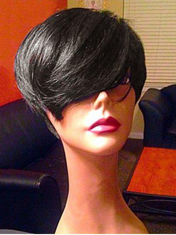 Trendy Short Oblique Bang Straight Synthetic Fiber Wig