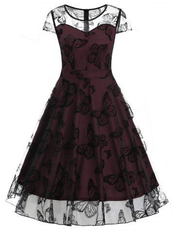 Cheap Butterfly Lace Overlay Vintage Swing Dress
