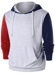 Color Block Kangaroo Pocket Hoodie -