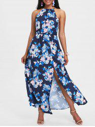 Back Cut Out Floral Print Maxi Dress -