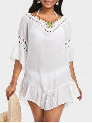 Crochet Insert Flounce Cover Up Dress -