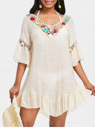 Crochet Insert Flounce Backless Cover Up Dress -