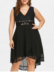 Plus Size Lace Panel Sleeveless Dress -
