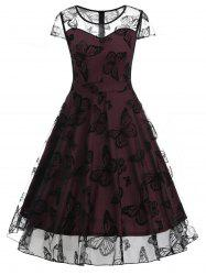 Butterfly Lace Overlay Vintage Swing Dress -