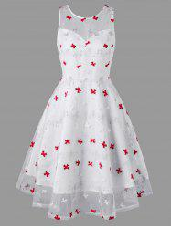 Bowknot Embroidered Sleeveless Lace Overlay Dress -