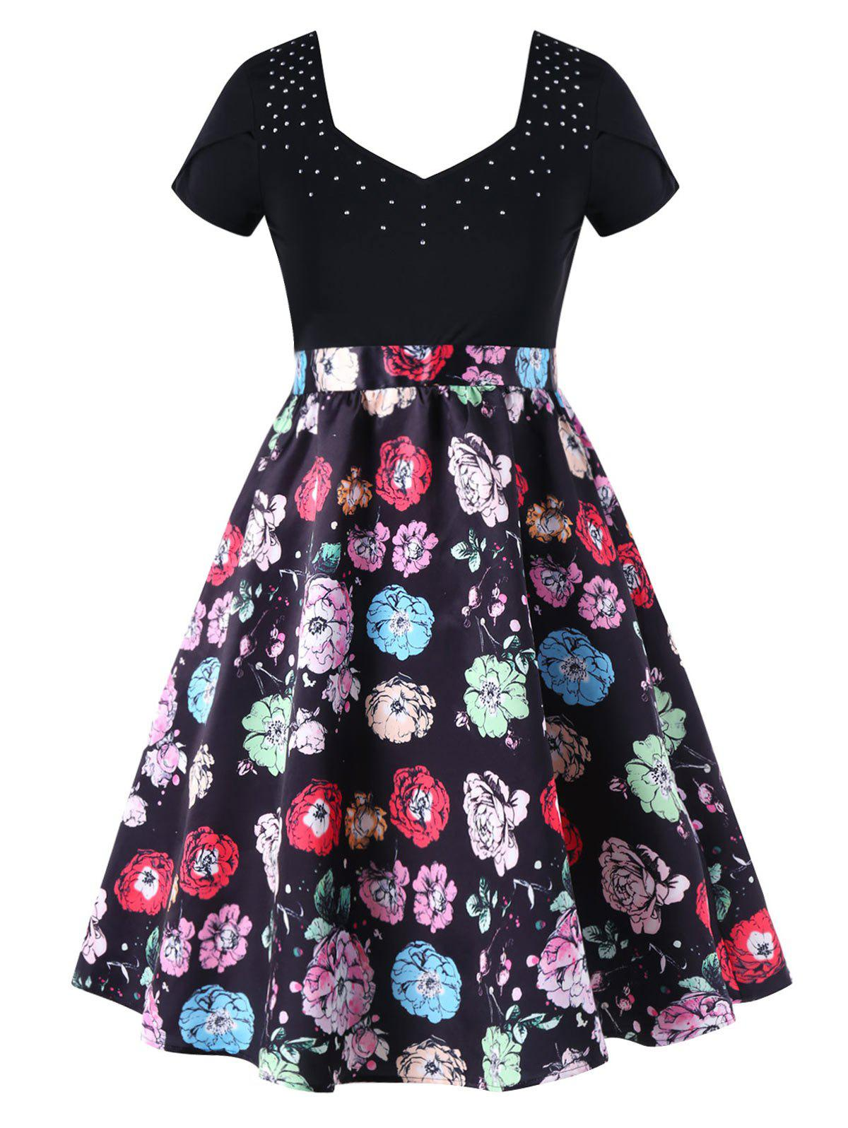 Chic Floral Print Plus Size Fit and Flare Dress