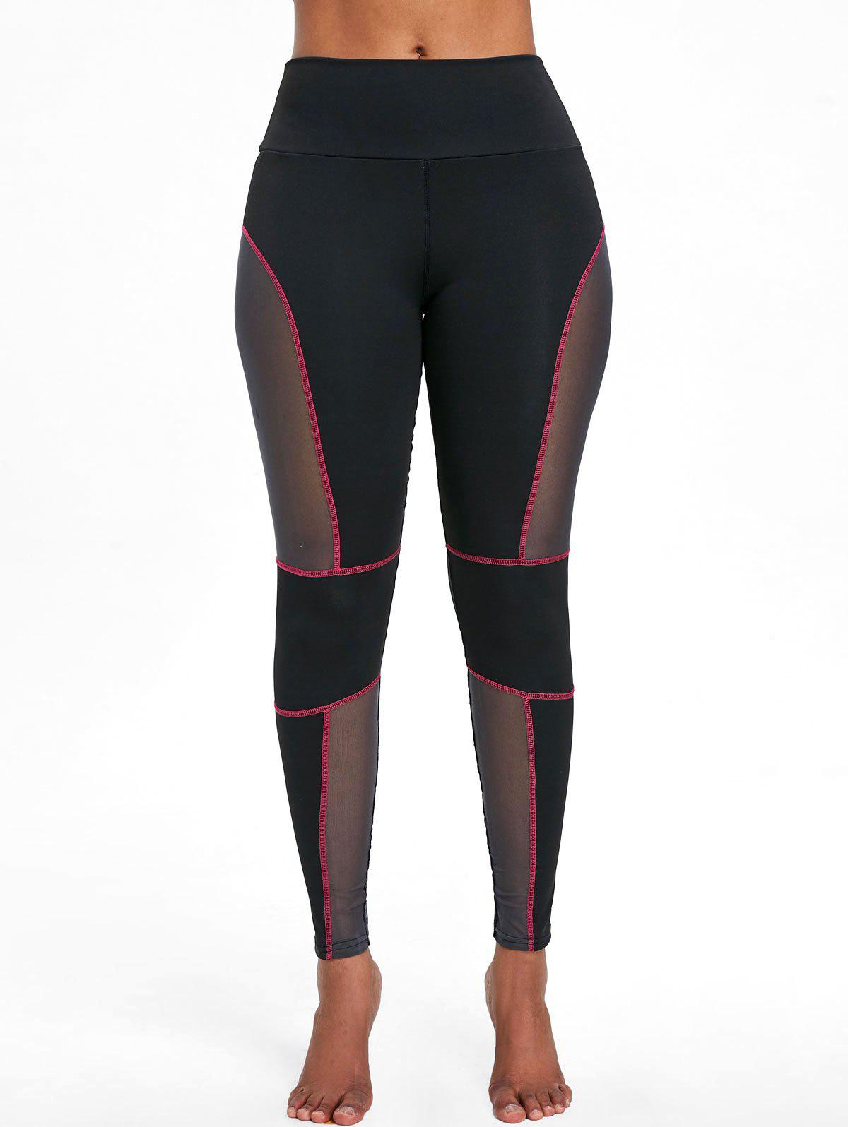 Sale See Through Mesh Panel Workout Leggings