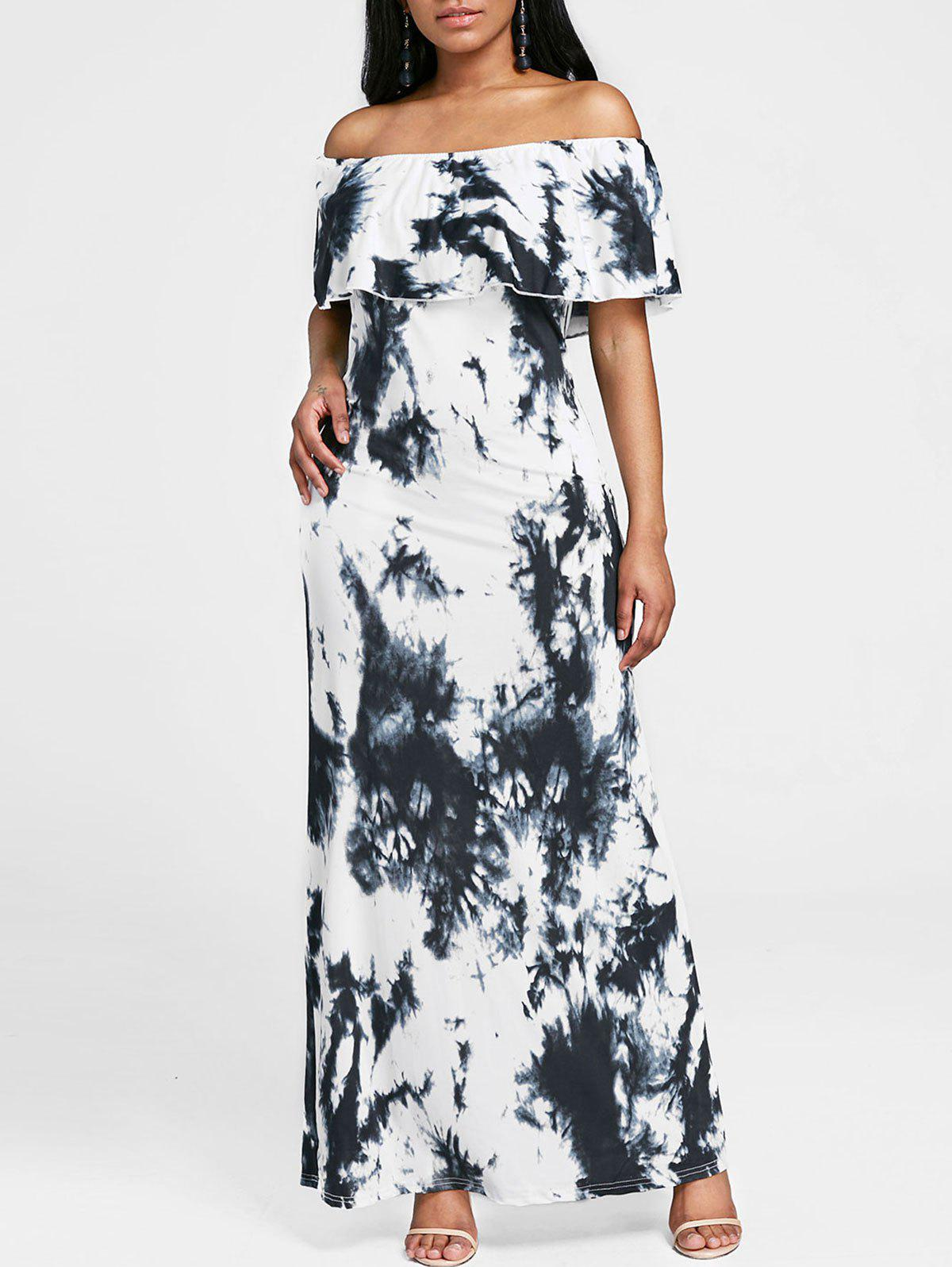 Outfit Off The Shoulder Tie Dye Maxi Dress