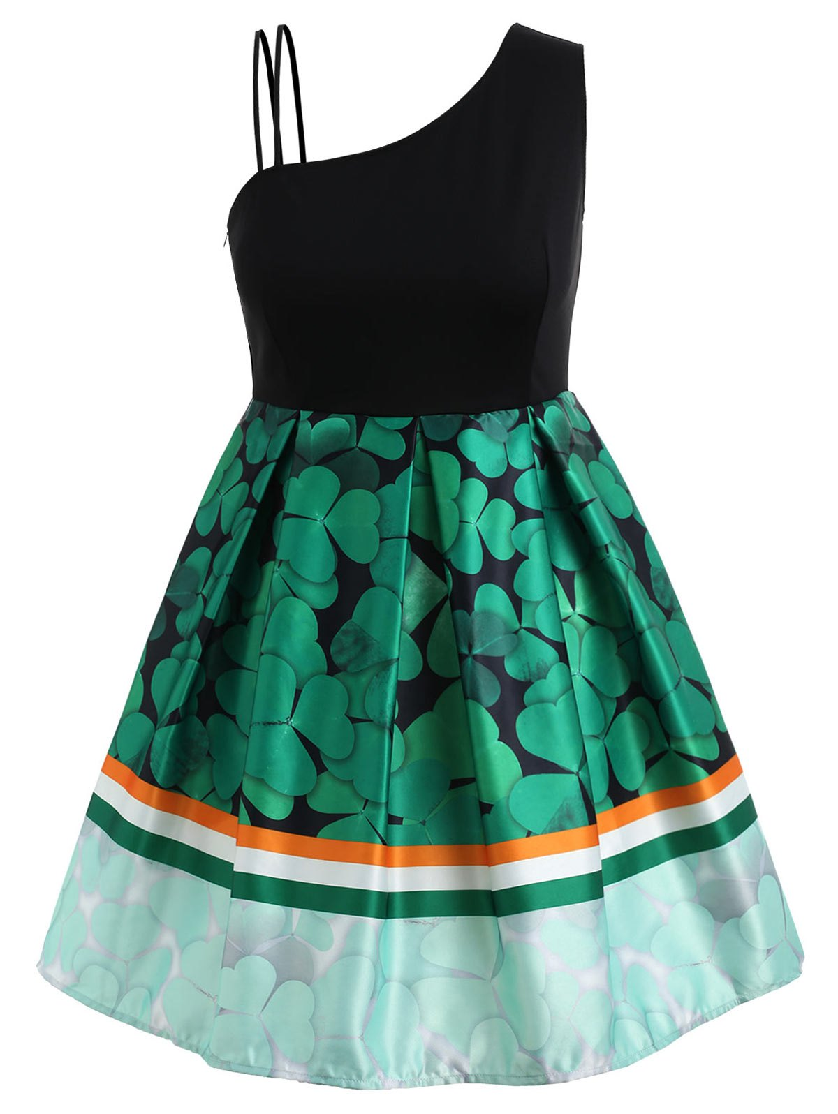 Online Plus Size Shamrock Skew Neck Dress