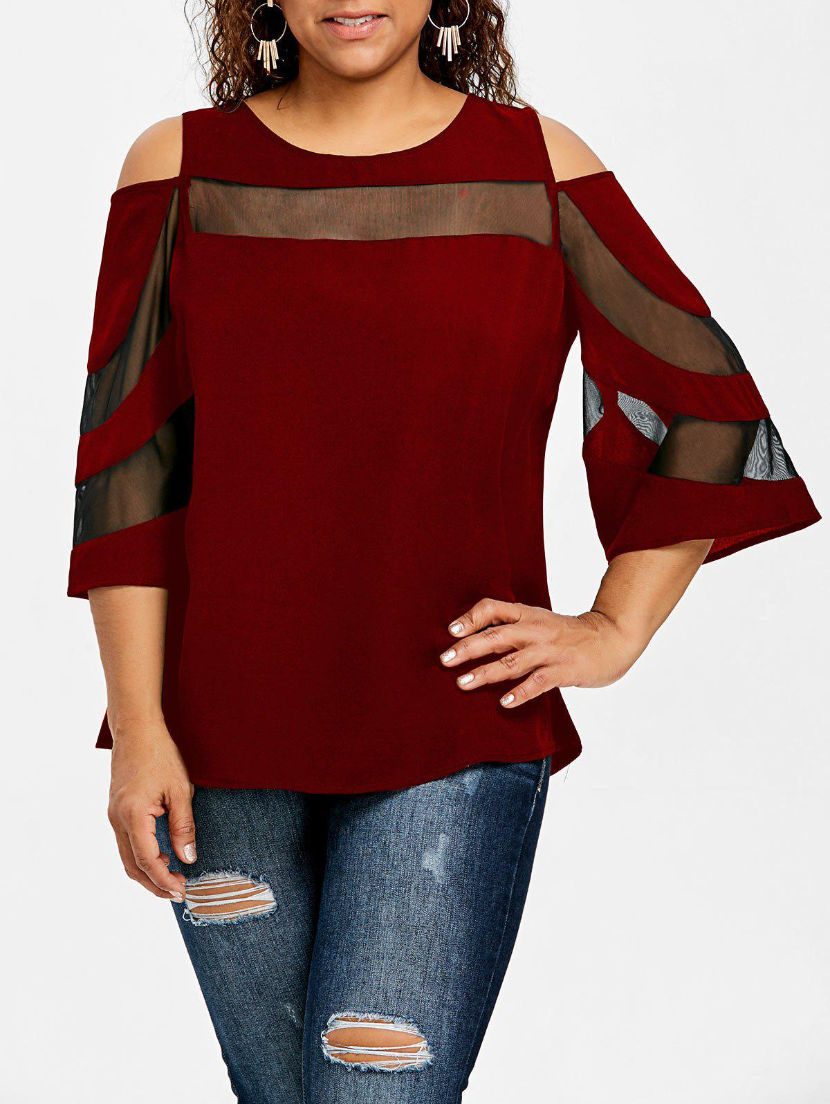 ba7a78910e000c 50% OFF] Plus Size Mesh Insert Cold Shoulder Top | Rosegal