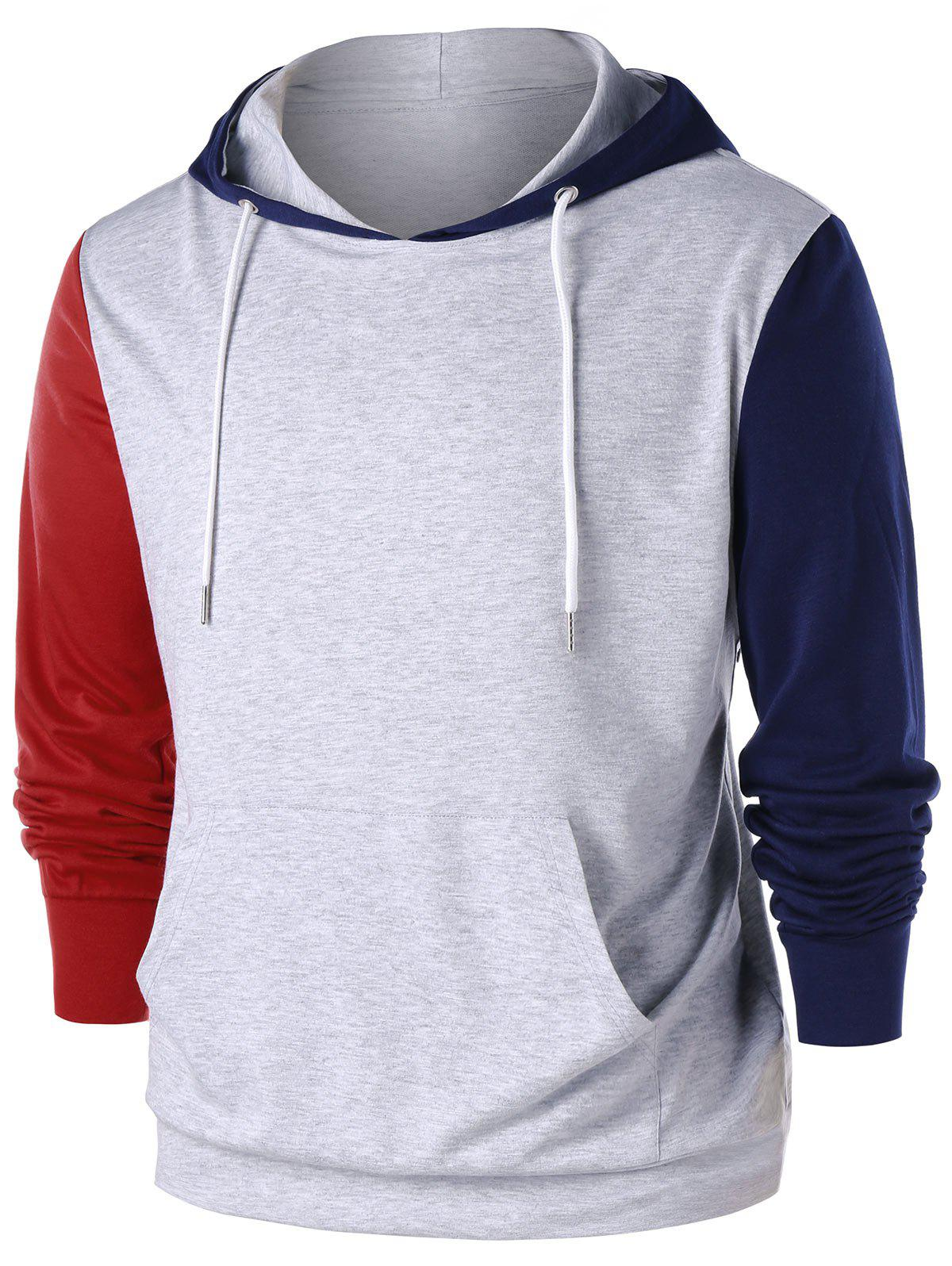 Outfits Color Block Kangaroo Pocket Hoodie