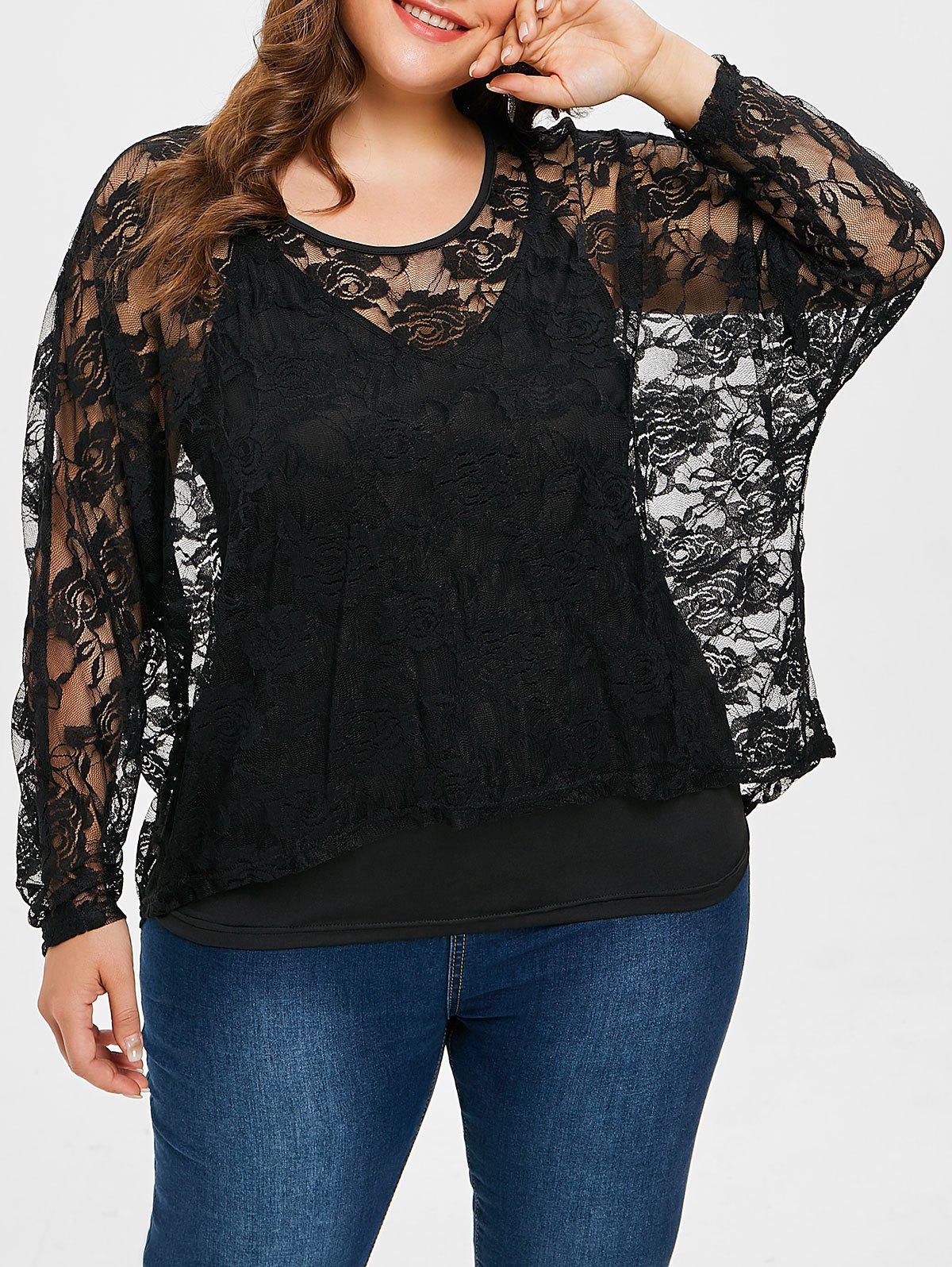 Chic Plus Size Sheer Lace Blouse with Cami Tank