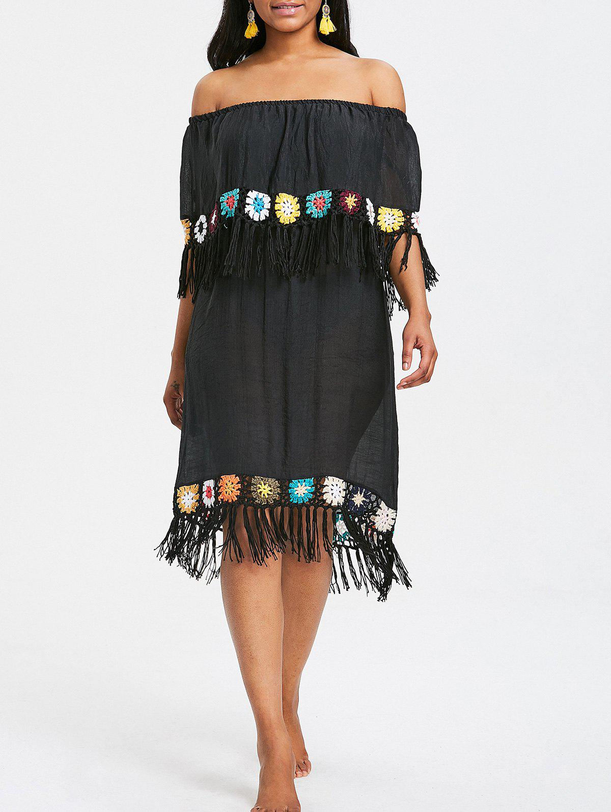 Affordable Crochet Panel Fringed Beach Dress