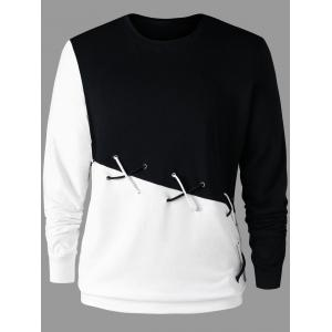 Color Block Sweatshirt with Lace Up -