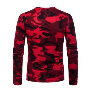 Crew Neck Camo Print Zipper Long Sleeve T-shirt -