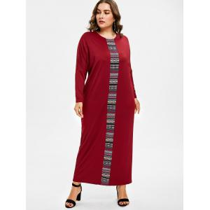 Plus Size Ethnic Embroidered Maxi Dress -