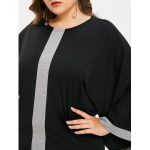 Plus Size Batwing Sleeve Two Tone Dress -