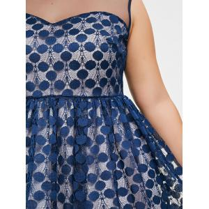 Plus Size Polka Dot Lace Dress -