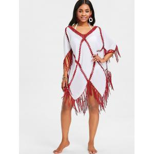 Crochet Insert Fringed Tunic Cover Up -