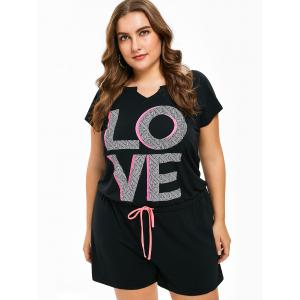 FRENCH BAZAAR Plus Size Love Print Cutout Back Waistline Casual Romper -