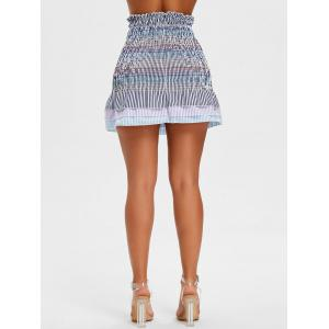 Striped Smocked Flounce Skirt -