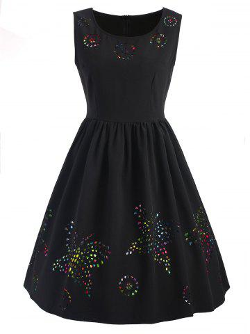 Buy Butterfly Cut Out Sleeveless Flare Dress