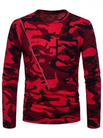 Discount Crew Neck Camo Print Zipper Long Sleeve T-shirt