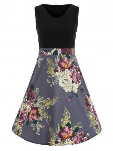 Shop Color Block Floral Print Vintage Dress
