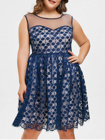 Sale Plus Size Polka Dot Lace Dress