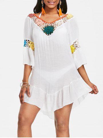 Fashion Backless Flounce Crochet Insert Tunic Cover Up