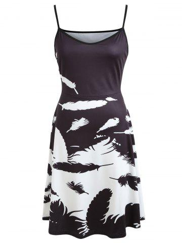 Color Block Feather Print Slip Dress