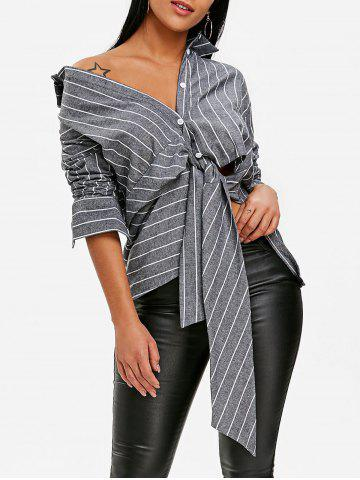 Best Front Tie Stripe Asymmetrical Peplum Blouse