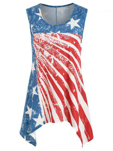 Sale Asymmetrical Patriotic Tank Top