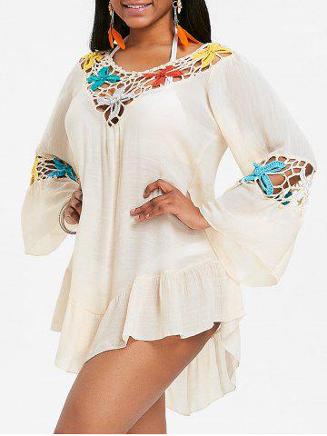 Crochet Panel Flounce Tunique Cover Up