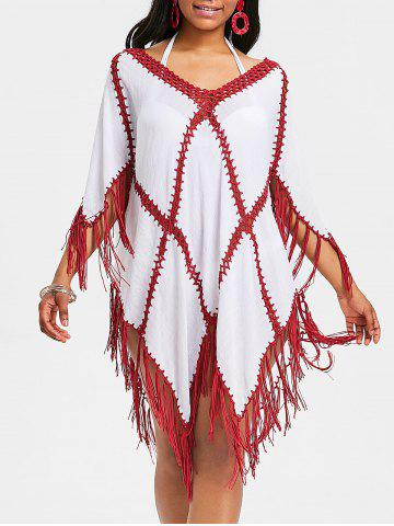 Trendy Crochet Insert Fringed Tunic Cover Up