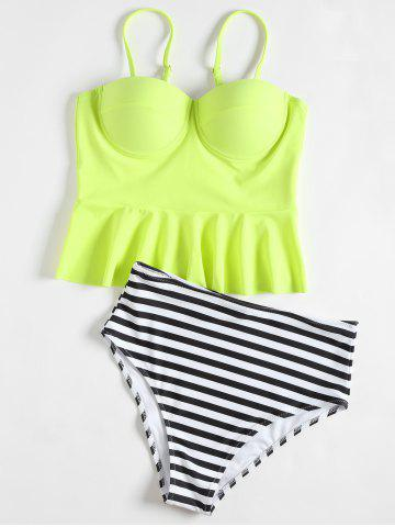New High Waisted Striped Flounce Peplum Tankini
